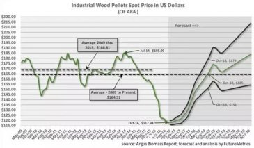 What's the price of industrial wood pellets in the future?